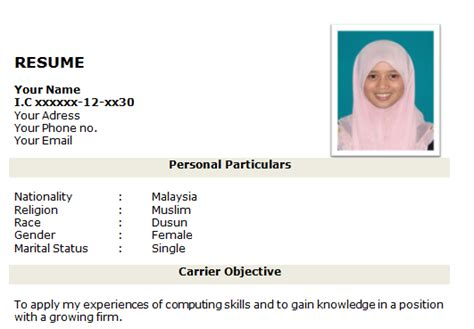 Contoh resume nak mintak kerja contoh z png 531x369